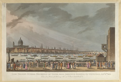 Lord Nelson's Funeral procession by water, from Greenwich Hospital to Whitehall Jany 8th 1806.